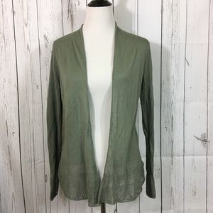 Max Studio Sage Green Pointelle Trim Cardigan